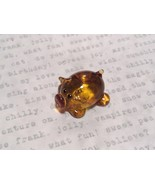 Mini Hand Blown Glass Amber Colored Hog with Red Nose Made in USA - $39.99