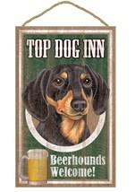"Top Dog Inn Beerhounds Dachshund Bar Sign Plaque dog 10""x16"" Doxie black... - $21.95"