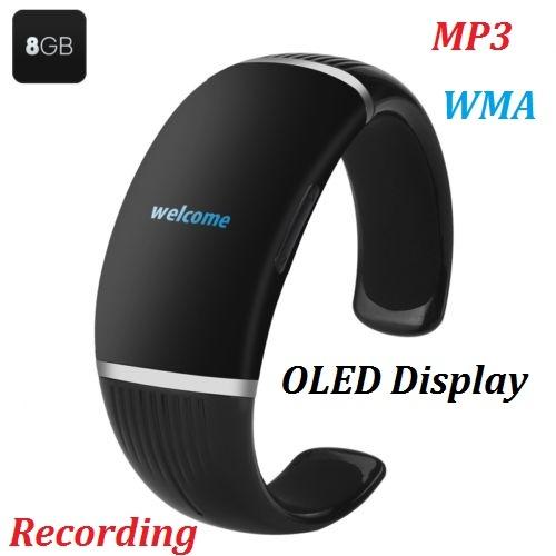8GB Digital Bracelet Recorder MP3 - OLED Display One-key Playing + Recording DHL