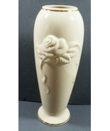 Lenox Collection Rose flower embossed relief Vase Ivory color porcelain ... - $24.75