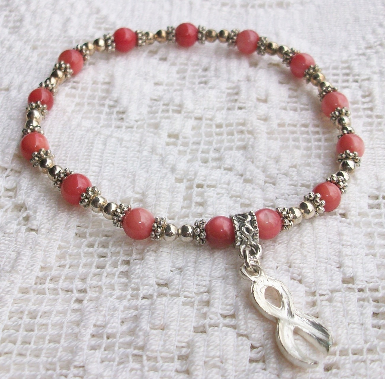 """7 1/4"""" Pink Cats Eye Bracelet with Pink Breast Cancer Awareness Ribbon New"""