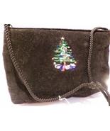 Vintage MITZI Christmas Tree Black Velvet Bag Convertible Shoulder Bag C... - $19.35