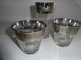 3 Vintage Clear Glass Tumbler Rocks Old Fashion Platinum Band w/ Flower ... - $23.22