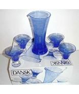 Dansk BLUEBERRY TWIST 6 PC. Cocktail Set 4 Glasses-Pitcher-Stirrer New B... - $39.90