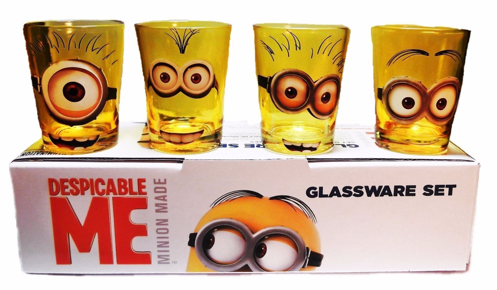 Despicable Me Movie MINION Characters 4 Piece 1.5 oz BOXED SHOT GLASS SET