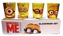 Despicable Me Movie MINION Characters 4 Piece 1.5 oz BOXED SHOT GLASS SET - £19.16 GBP