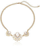 New Simulated-Pearl & Crystal Rhinestone Statement Necklace nwt #N53044 - $11.27 CAD