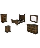 King Finca Dark Walnut Rustic Bedroom Set Western Cabin Lodge Reclaimed ... - $3,761.99