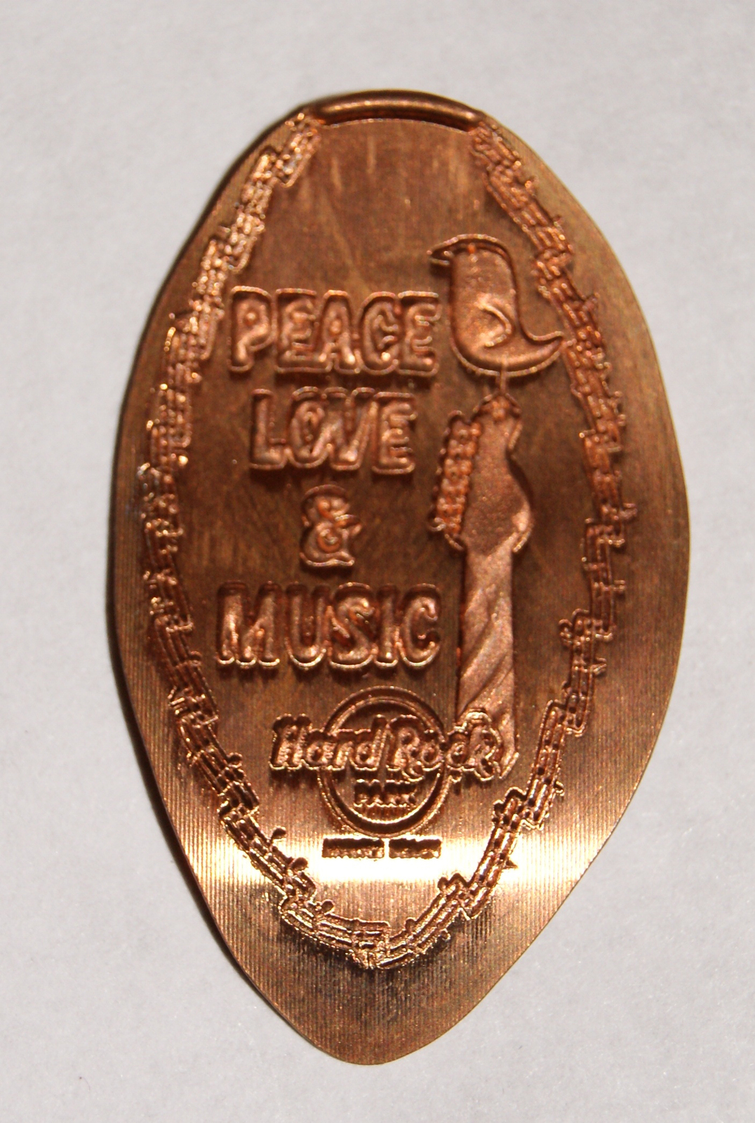 elongated penny hard rock park closed 2008 peace love music for collectors other. Black Bedroom Furniture Sets. Home Design Ideas