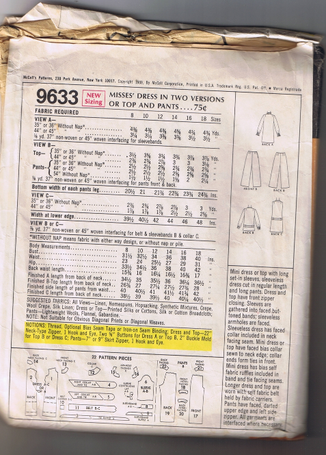 McCall's 9633 -  Misses' Dress in Two Versions or Top & Pant - Size 16 - UNCUT