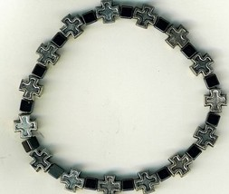 Bracelet Rosary - square metal crosses with dark gray square beads - 3133A