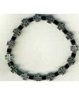 Bracelet Rosary - square metal crosses & square beads - $18.99