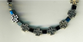 Bracelet Rosary - square metal crosses with dark gray square beads - 3133A image 2