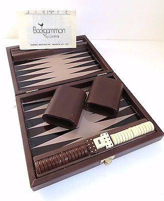 Vintage Backgammon Game Set in Travel Case By Cardinal ~ Magnetic