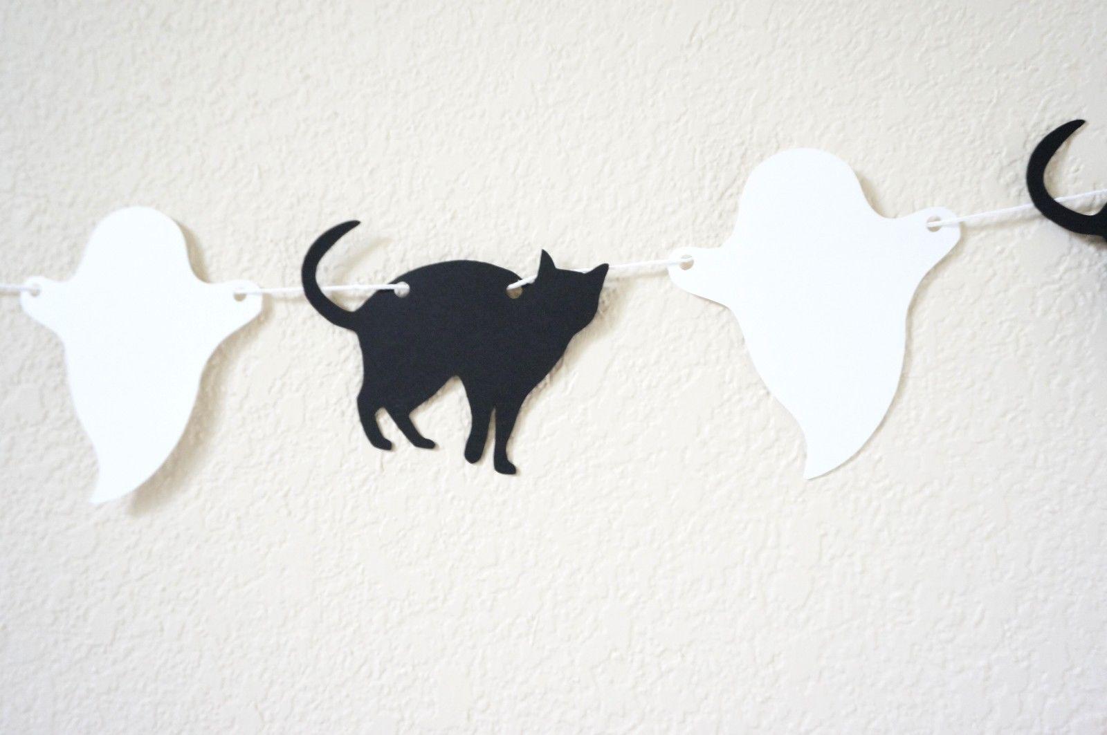 Halloween Banner Garland Black Cat Ghost Bat Pumpkin