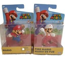 Lot Of 2 Jakks Super Mario Figures Mario & Fire Mario, Ages 3+, Sealed - $12.32