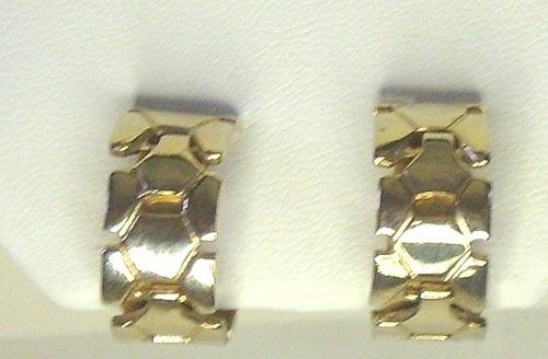 Vintage Gold Tone Textured Hoop Screw Back Earrings