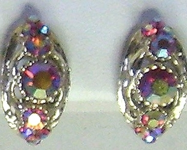 Vintage AB Iridescent Pink Rhinestone Earrings