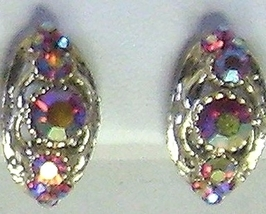 Vintage AB Iridescent Pink Rhinestone Earrings - $8.95