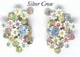 Vintage Leru White Flowers & Pink, Green,Blue Purple Rhinestone Clip Ear... - $16.99