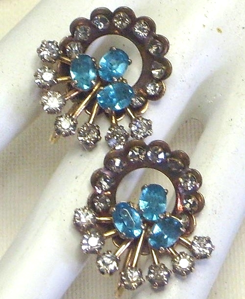 Vintage Blue & Clear Rhinestone & Brass Earrings Austria