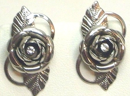 Vintage Silver Tone Rose & Rhinestone Earrings - $12.99