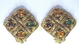 Vintage Colored Rhinestones & Gold Tone Florenza Earrings - $13.99