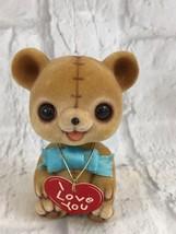 Josef Originals Vintage Brown Flocked Bobble Head Bear Figurine Collectible - $11.30