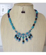Turquoise, Amethyst, Lapis, Crystal Waterfall Necklacle and Amethyst Ear... - $46.00