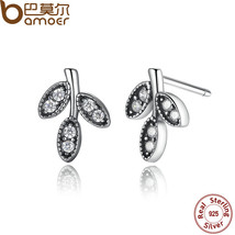 Presents Sterling Silver Sparkling Leaves Stud Earrings Clear Cz Fashion Jewelry - $14.14