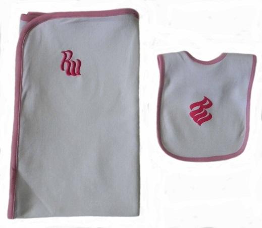Rocawear Baby Girls 6-9 Mos. Bib and Receiving Blanket Set
