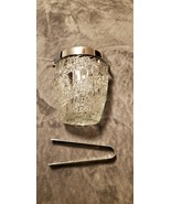 HEAVY LEAD CRYSTAL GLASS CUT ICE BUCKET WITH CHROME METAL HANDLE AND TONGS  - $25.00