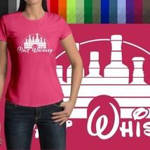 Malt Whiskey Humorous Funny Disney Parody Disneyland Crew Neck Womens T-Shirt - $18.00