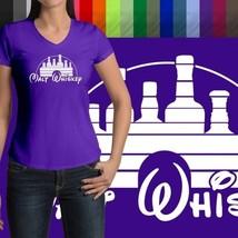Malt Whiskey Humorous Funny Disney Parody Disneyland V-Neck Womens Tee T-Shirt - $18.00