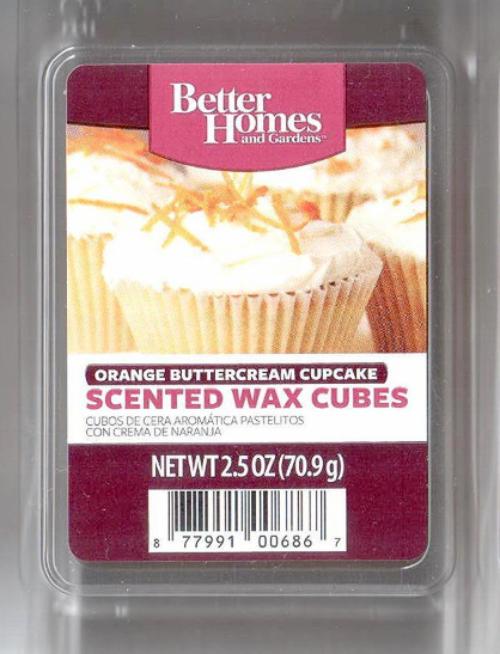 Orange buttercream cupcake better homes and gardens for Better homes and gardens scented wax cubes