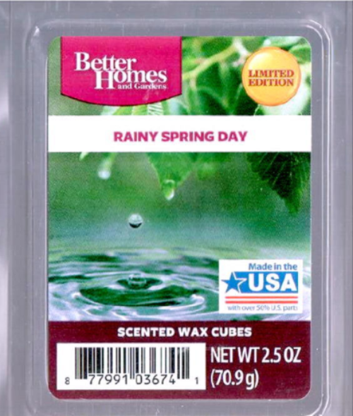 Rainy spring day better homes and gardens wax cubes melts scented tart fresh candles for Better homes and gardens wax melts