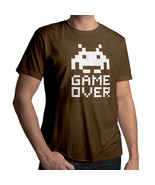 Space Invader Game Over 8 Bit Retro Mens Crew Neck 100% Cotton Unisex T-Shirt - $18.00