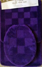 3 Piece Purple Patchwork Design Bathroom Rug/mat, Contour & Lid Cover Set - $20.99
