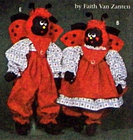 """Simplicity 7119 BLUEBIRD LADYBUG BEE 21"""" Dolls and Clothes Pattern"""
