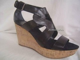 New NINE WEST Black Leather Entertaino Wedge Shoes sz 8 - $34.65