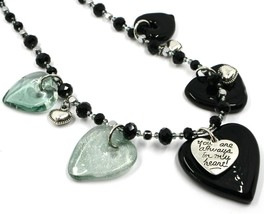 Necklace Antica Murrina Venezia, COB59A14, 5 Hearts Glass Black Hanging image 2