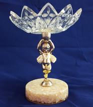 Vintage Cherub Angel Pedestal Dish Cut Glass Bowl Metal Shell Hollywood ... - $29.94