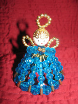 DOLL VINTAGE BEAD & SAFETY PIN DOLL ANGEL BLUE ... - $10.00
