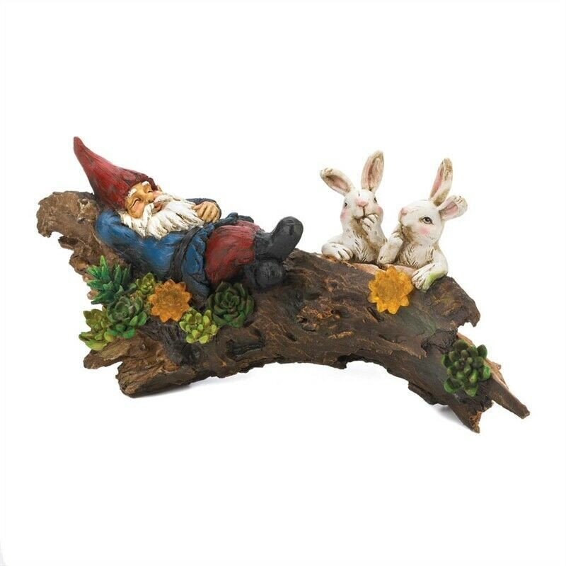Curious Bunnies Watching Gnome Sleep Solar Statue