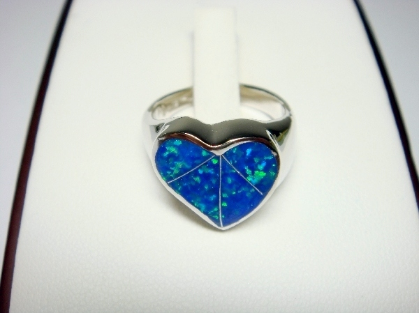 925 Sterling Silver Ring Hawaiian Blue Opal Heart