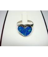 925 Sterling Silver Ring Hawaiian Blue Opal Heart - $17.00