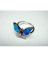 925 Sterling Silver Ring Hawaiian Blue Butterfly Opal & CZ - $22.00