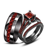 925 Silver 14k Black Gold Fn Princess Cut Red Garnet Engagement Trio Ring Set 9 - $210.24