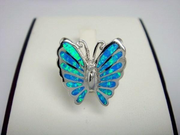 925 Sterling Silver Ring Hawaiian Blue Opal Butterfly