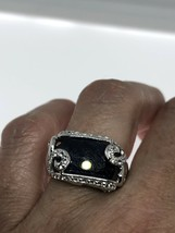 Vintage Blue Sapphire Ring White Sapphire 925 Sterling Silver Size 7 - $154.44